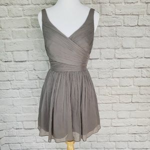 J. Crew Taupe Gray Silk Chiffon Heidi Dress
